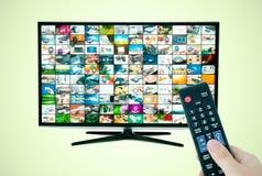 Schermo a grande schermo di alta definizione TV con la video galleria Fotografia Stock Libera da Diritti