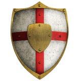 Schermo invecchiato medievale del crociato del metallo isolato royalty illustrazione gratis