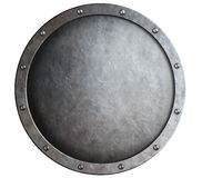 Schermo medievale del metallo rotondo isolato Immagini Stock