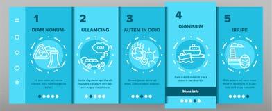 Schermo mobile della pagina del App di Onboarding di vettore ambientale di inquinamento atmosferico illustrazione di stock