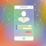 Schermo mobile trasparente dello Smart Phone con il applica Fotografie Stock