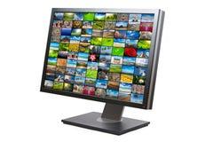 Schermo moderno dell'affissione a cristalli liquidi HDTV isolato Fotografie Stock Libere da Diritti