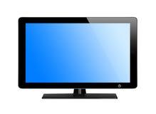 Schermo moderno della TV con lo schermo blu Fotografia Stock Libera da Diritti