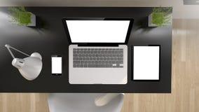 schermo nero di bianco di vista superiore dell'ufficio Fotografia Stock