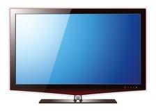 Schermo piano dell'affissione a cristalli liquidi della TV, illustrazione realistica di vettore Fotografia Stock