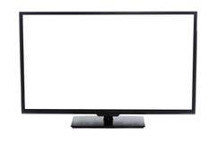 Schermo piano moderno TV con lo schermo vuoto in bianco isolato Fotografia Stock Libera da Diritti