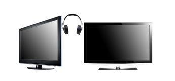 Schermo piano TV di alta definizione LCD due con Immagini Stock Libere da Diritti