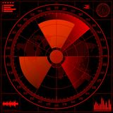 Schermo radar con il segno radioattivo. Immagine Stock
