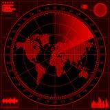 Schermo radar con la mappa di mondo Immagini Stock Libere da Diritti