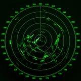 Schermo radar moderno della nave con la mappa rotonda verde Immagini Stock Libere da Diritti
