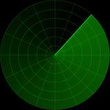 Schermo radar verde Immagini Stock