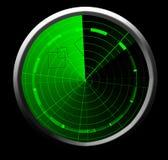 Schermo radar verde Fotografie Stock