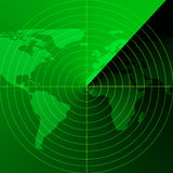 Schermo radar verde Immagini Stock Libere da Diritti