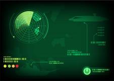 Schermo radar verde Immagine Stock