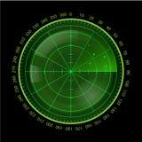 Schermo radar verde di Digital su fondo nero Fotografie Stock Libere da Diritti