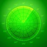 Schermo radar verde. Immagine Stock