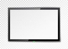 Schermo realistico della TV Svuoti il monitor principale su un fondo trasparente Illustrazione di vettore illustrazione vettoriale