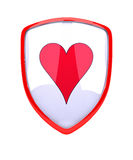 Schermo rosso con il simbolo del cuore - Fotografia Stock Libera da Diritti