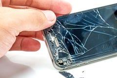 Schermo rotto del telefono Fotografia Stock Libera da Diritti