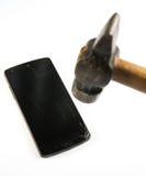 Schermo rotto del telefono Fotografie Stock