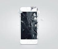 Schermo rotto del telefono cellulare, cocci sparsi immagini stock libere da diritti