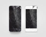 Schermo rotto del telefono cellulare, il nero, bianco, percorso di ritaglio Immagine Stock Libera da Diritti