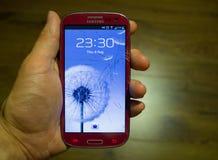 Schermo rotto su un telefono di Samsung Fotografia Stock
