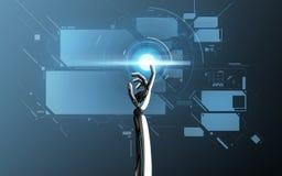 Schermo virtuale commovente della mano del robot sopra il blu Fotografia Stock