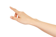 Schermo virtuale commovente della mano della donna. fotografia stock