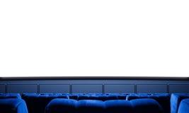 Schermo vuoto del cinema con i sedili blu Aspetti per la vostra pubblicità 3d rendono Fotografie Stock
