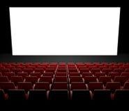 Schermo vuoto del cinematografo con la sala Immagine Stock