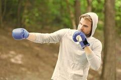 Scherp het verdedigen vaardigheid Sportman geconcentreerde opleidings bokshandschoenen Atleet geconcentreerde de handschoenenprak stock fotografie
