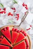 Scherp, pastei, cake met op gelei gezette en verse framboos op de lichte concrete achtergrond Royalty-vrije Stock Fotografie