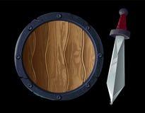Scherp zwaard met schild royalty-vrije illustratie