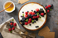 Scherpe de zomerbessen en Griekse yoghurt stock foto's