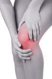 Scherpe pijn in knie Stock Foto