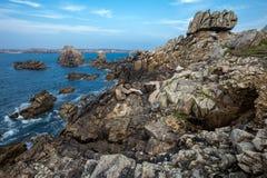 Scherpe rotsachtige kustlijn Stock Afbeeldingen