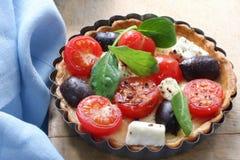 Scherpe tomaat, Kaas en Olijf Royalty-vrije Stock Foto's