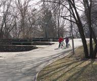 Scherza i ragazzi che camminano con una bici nel parco Immagini Stock