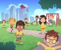 scherza il campo da giuoco Bambino prescolare all'aperto della natura dei bambini del gioco che gioca il fondo del fumetto di spe illustrazione di stock