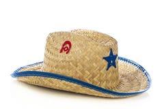 Scherza il cappello da cowboy su bianco Immagini Stock Libere da Diritti