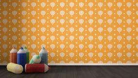 Scherza il fondo variopinto minimalista con le matite colorate farcite Fotografie Stock Libere da Diritti