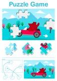 Scherza il gioco di puzzle del fumetto con un orso in automobile Fotografie Stock Libere da Diritti