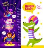 Scherza il grafico di altezza con gli artisti del circo del fumetto Immagine Stock