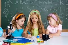 Scherza il gruppo di ragazze dell'allievo all'aula del banco Fotografia Stock Libera da Diritti