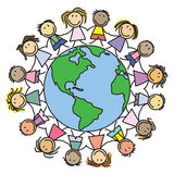 Scherza il mondo - bambini sul globo illustrazione di stock