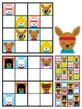 Scherza il puzzle di sudoku con le teste dell'animale del fumetto Fotografie Stock Libere da Diritti