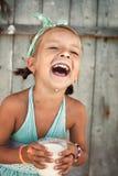Scherza il ritratto con latte Fotografia Stock Libera da Diritti