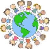 Scherza l'illustrazione - bambini che disegnano/bambini che si tengono per mano sul wor Immagine Stock Libera da Diritti