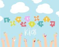 Scherza l'illustrazione di creatività Fondo di vettore Insegna, aletta di filatoio per le lezioni di arte dei bambini o scuola illustrazione vettoriale